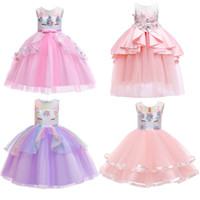 bebek kız kore kırmızı elbise toptan satış-Yürüyor Kızlar Unicorn Elbiseler 34 Tasarım Kolsuz Işlemeli Unicorn Prenses Elbiseler Gelinlik Yaz Performansı TUTU Etek 3-7 T 04