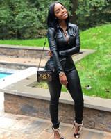 ingrosso vestito di clubwear sexy-2019 cuoio sexy manica lunga V-Collo profondo dell'unità di elaborazione delle donne tasca risvolto tuta tuta sportiva della tuta delle calzamaglia delle donne Clubwear