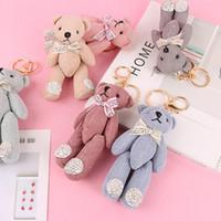 Wholesale bows tie teddy bear resale online - Pompom Teddy Plush Doll Keychain for kid Small Bow Tie Bear Toy Pendant Keyring Women Bag Car Key Chain Trinket Valentine Gift