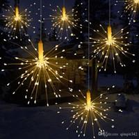 Wholesale led battery garland resale online - DIY LED Firework Explosion Star Christmas Fairy Light With Remote Modes Hanging Starburst LED String Garland