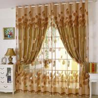 cortinas duplas para sala de estar venda por atacado-250 cm de fios + pano de cortina de luxo folhas modernas Designer de cortinas de camada dupla janela de tule cortina pura sala de estar quarto painel de triagem