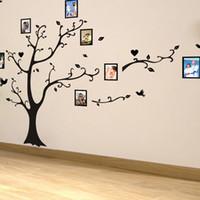 виниловые наклейки оптовых-Большой размер 200 * 260 см красочные DIY фото виниловые наклейки на стену дерево для гостиной спальни росписи искусства обои домашнего декора
