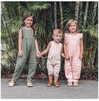 Wholesale chinese outfits children resale online - Infant Pink Solid Baby Girls Rompers Pants Children Girls Clothing Outfit Pink Jumpsuits Toddler Sleeveless Belt Baby Girls Overalls