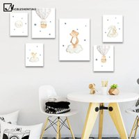Wholesale watercolor paintings children for sale - Group buy Watercolor Forest Animal Child Poster Baby Nursery Wall Art Print Simple Canvas Painting Nordic Kid Bedroom Decoration Picture