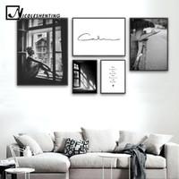 Art abstrait Toile Fashion Poster Décoration Peinture murale noire Blanc  Imprimer nordique Photo Salon scandinave Décoration d intérieur