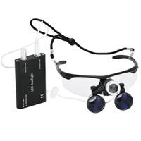 lentes de aumento de luz led al por mayor-Freeshipping 2.5X lupa binocular de aumento con faro led luz lupa lupa lupa