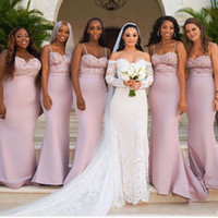 Wholesale satin western dresses resale online - Custom Pink Mermaid Bridesmaid Dresses For Western Summer Weddings Lace Appliques Spaghetti Straps Long Maid of Honor Gowns