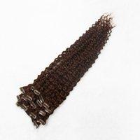 clips de cabelo castanho escuro encaracolado venda por atacado-Dark Auburn Brown Cor 6A Não Transformados Duplo Trama clipe Em Extensões Do Cabelo 100% Cabelo Humano Weav 10-30 Polegadas Cabelo Encaracolado