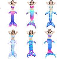 ingrosso costumi sirena bambino-3pc ragazze balneabili costume da bagno nuoto code a sirena senza costume bambini piccoli costume cosplay costumi da bagno per bambini