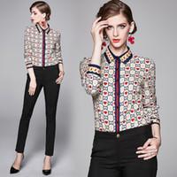 kalpler bluzlar toptan satış-Klasik Moda Kalp şeklinde Baskı Casual Büro Uzun Kollu Gömlek Kadınlar Yeni Lüks Pist Bayanlar Yaka Boyun Düğmesi Ön İnce Bluzlar Tops
