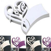 formas de tarjetas de mariposa al por mayor-Tarjeta de invitación de boda Favor de los vidrios hueco en forma de corazón Rainbow Birds Butterfly Table Name Card Decor 50 unids / bolsa