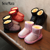 Wholesale red boots for baby girl resale online - New Arrival Bling Winter Shoes For Girls Plush Toddler Boy Boots Kids Keeping Warm Baby Snow Boots Children Shoes A11101 MX190727