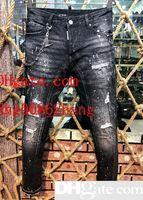 jeans de hombre 28 32 al por mayor-Caliente de la venta 2019 de la manera de los hombres ocasionales del dril s Coolguy Jean bordado pantalones vaqueros de los agujeros del motorista botón pantalones largos pantalones 28 ~ 38