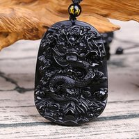 Wholesale carving black obsidian resale online - f Fine carving Chinese natural black A obsidian carved dragon black pendant Amulet Lucky pendant necklace Fashion Jewelry