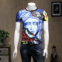 camisas de homens bonitos venda por atacado-2019 Novo Padrão Homem Camisetas Bonito Impressão Mangas Curtas Camisetas Versão Coreana de Algodão Mercerização T-shirt Maré Marca