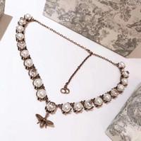cadena de cobre vintage al por mayor-Vintage Classic Designer Copper Bee Star Charm blanco collar de gargantilla de cadena de perlas para las mujeres joyería