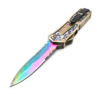 facas de abalone venda por atacado-Padrão de Abalone ouro escaravelho 9 modelos de lâmina dupla ação facas de caça tático xmas presente faca bm42
