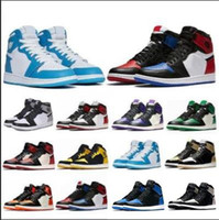 Wholesale New fashion1 top quality OG Bred Toe Chicago Banned Game Royal Basketball Shoes Men s Top Shattered Backboard Shadow Multicolor Sneakers