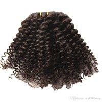 renk remi saç uzatma kıvırcık toptan satış-Afro Kinky Kıvırcık İnsan Saç Uzantıları Klip Brezilyalı 100% Remy Saç 120 g / takım, renk 1 # 4 # seçeneği