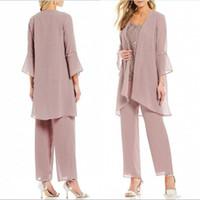 roupas de negócio rosa para mulheres venda por atacado-Rosa Rose Pants mulheres formal Ternos Mãe da noiva com Jacket Escritório de Negócios Lady for Wedding Party nupcial Evening Wear