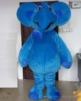 traje de elefante azul venda por atacado-Discount fábrica venda feliz azul elefante mascote traje terno para adultos for sale