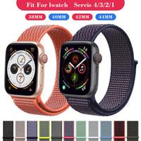 38mm renkli izle toptan satış-27 renkler Için Naylon kayış Apple watch band 4 3 2 1 Spor Bilezikler Ayarlanabilir Nefes Akıllı watchBand Çift Renk 40mm 44mm 38mm 42mm