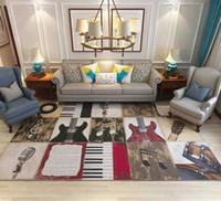 гитарная спальня оптовых-Rock music guitar Shabby Chic Vintage Carpet High Density Anti-slip Rugs Pad Bedside Blanket Prayer Parlor Bedroom Floor Mat