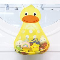 Wholesale bathroom wall clothing resale online - Cartoon Kids Toy Storage Bags Children Bathroom Toys Duck Frog Shape Mesh Bag With Sucker Hangable for Bathroom Home HHA1117