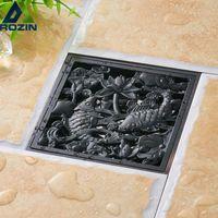 Wholesale floor drain odor resale online - Black Bronze Anti odor Floor Drain Fish Design Shower Drain quot Square Bathroom Floor Waste Drain Water Drainer