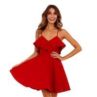 ingrosso abito rosso collo crociato-Summer Sexy Dress Women Backless Cross Coulisse Ruffles Bundle Vita V -Neck Strap Mini Dress Summer Red Vintage