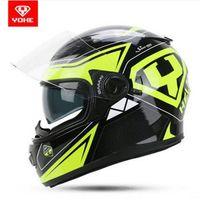 tam kask toptan satış-2017 Yeni moda YOHE Çift lens motosiklet kask Dört mevsim Tam yüz YH-970 Motosiklet kask