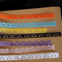 cinta adhesiva decorativa al por mayor-Scrapbooking Tape School Stationery Cute Self Adhesive Crafts Book Decor Lace Hollow Out Roll Glitter Decorative Sticky