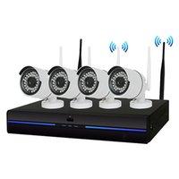 kit de cctv de seguridad para el hogar al por mayor-Nuevo 4PCS Sistema de cámaras de seguridad CCTV inalámbricas para el hogar 4CH 720P NVR 1.0MP IR P2P para exteriores, Wifi IP Resistente a la intemperie, Kit de vigilancia incorporado 1 TB HDD