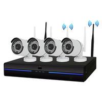 güvenlik kamerası wifi hdd toptan satış-Yeni 4 ADET Ev Kablosuz CCTV Güvenlik Kamera Sistemi 4CH 720 P NVR 1.0MP IR Açık P2P Wifi IP Hava Gözetleme Kiti dahili 1 TB HDD