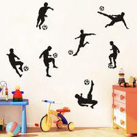 futbol çıkartmaları toptan satış-Futbol Topu Futbol Duvar Sticker Çıkartması Çocuk Odası Dekor Spor Boy yatak odası futbol oyuncu sanat Vinil duvar çıkartması ev dekor
