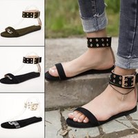 Wholesale big bottom sandals for sale - Group buy big code sandals female summer explosion flat bottom buckle with ladies sandals outdoor beach shoes fashion wild