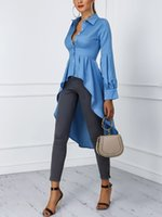 ingrosso la camicetta in cotone-2019 Women Fashion Office Elegant Workwear Casual Shirt Ladies Top Lantern Sleeve Button Design Dip Hem camicetta T190611