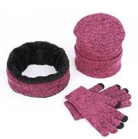 luvas de chapéu venda por atacado-Malha Chapéu Cachecol Luva Set 3 pcs Inverno Tricô Engrosse Unissex Plus Velvet Scarf Caps Conjunto Com Logotipo LJJO7122
