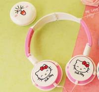 Wholesale cartoon headphones wired headband online - Foldable Cartoon Kitty Robocat Headphone Headset Type Cute Girls Korean Version Of Children s Mobile Phone Headset