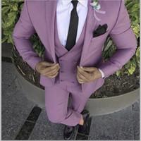 esmoquin rosa morado al por mayor-2019 Último Abrigo Pantalón de Diseño Púrpura Rosa Hombres Traje Slim Fit Novio Esmoquin 3 Unidades Trajes de Boda Personalizados Prom Blazer Terno masculino