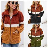 frauen sherpa jacken großhandel-Frauen Patchwork Mantel Langarm Reißverschluss Sherpa Sweatshirt Soft Fleece Jacke Outwear mit Taschen Tops Plüsch Sweatshirt LJJA2861