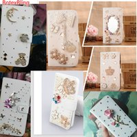 Wholesale galaxy note3 flip cover online - Luxury DIY Rhinestone leather flip case for samsung galaxy s7 s6 edge s5 s4 note5 note4 note3 S8 S8Plus flowers cover