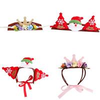 oro santa al por mayor-Pet Headwear Elk Crown Christmas Hat Santa Claus Universal Trumpet Cute Headgear With Red Green Gold Color 7md J1