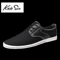 дышащая обувь бизнес повседневная оптовых-KATESEN Men's mesh casual shoes  men's shoes flat non-slip  woven breathable summer business