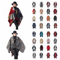 Wholesale tartan cape scarf resale online - Women Scarf Cardigan cm Patchwork Poncho Cape Spring And Autumn Warm Blanket Cloak Wrap Shawl outwear Coat LJJA3180