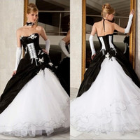 vestidos de boda victorianos corsé al por mayor-2019 Vintage negro y blanco vestido de bola vestidos de novia sin tirantes sin espalda corsé victoriano gótico más tamaño boda vestidos de novia
