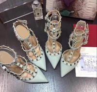 topuk ayakkabıları eu34 toptan satış-En Kaliteli Marka Yıldız Çivili Perçin Ayakkabı Pompalar Model13 Kadın Combo Başlat Kaya 6 CM 8 CM 10 CM V Yüksek Topuklu Ayakkabı Hakiki Deri EU34-41 Boyutu