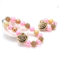 Wholesale flower children necklace resale online - Girls Vintage PIink Golden Flower Bubble Necklace Bracelet Kids Chunky Choker Children Princess Jewelry Set