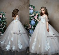 Wholesale flowers girl wedding dress spaghetti straps online - Princess Straps Spaghetti V Neck Girls Pageant Dresses Light Champagne Lace Appliqued Backless A Line Tulle Flower Girl Dresses BC0654