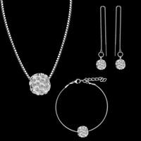 bracelete de cerâmica venda por atacado-Moda nova colar brincos pulseira 3 peças conjunto de jóias de cerâmica strass boutique temperamento senhoras dança jóias A392